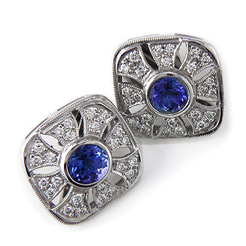 Style:E153~Gorgeous vintage look platinum, tanzanite and diamond earrings.