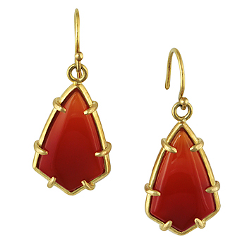 Style:E233 ~ Orange Chalcedony set in 18k yellow gold make striking earrings.