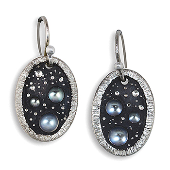 Style:E263 ~ Moonscape Series moonstones set in Sterling silver with oxidation