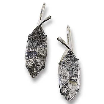 Style: E320 ~ Tourmalated Quartz set in sterling silver make dynamic earrings.