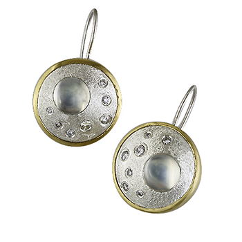 Style:E32 ~ Beautiful Moon Stones and diamonds set in sterling silver with 18k yellow gold.