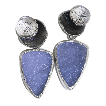 Style:E334~ Blue Chalcedony Druzzy set in Sterling Silver