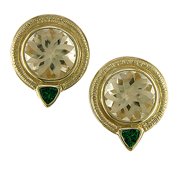 Style:EAR67 ~ These earrings feature unique yellow labradorites set in 18k yellow gold with tsvaorite garnets.