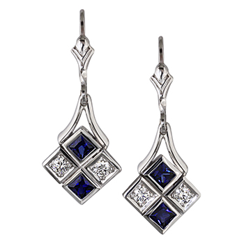 Style: EAR78 ~ Art deco style sapphire and diamond earrings.