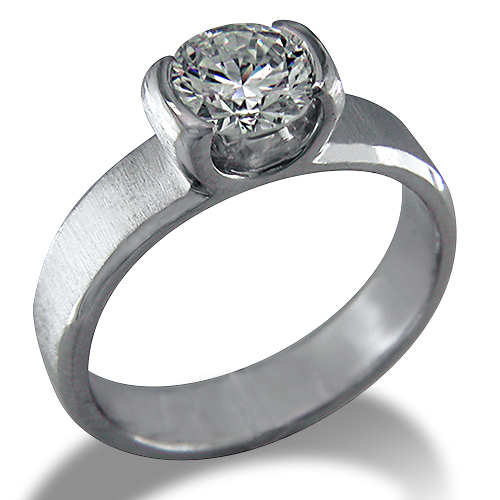 Style:ER317 ~  A contemporary semi bezel set round diamond engagement ring.