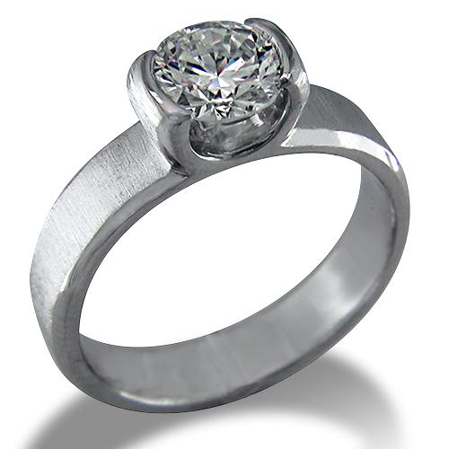 Style:ER317 ~  A contemporary semi bezel set round diamond engagement ring.