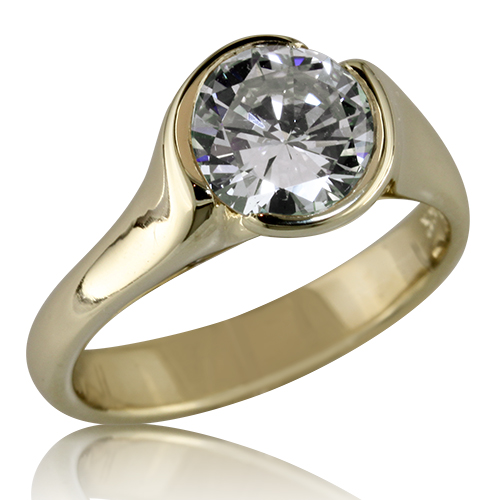 Style: ER369E A beautiful and simply stated flowing engagement ring in yellow gold.