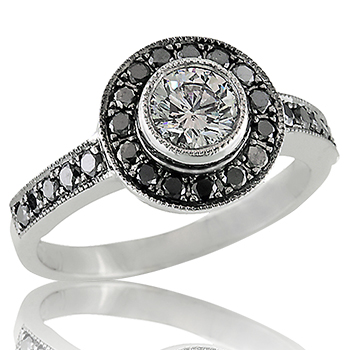 Style:ER427 R684 ~ Black diamonds give what could have been a traditional engagement ring a very updated look.