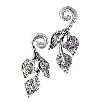 Style:E151~ Twining leaf shapes of diamonds and white gold earrings.