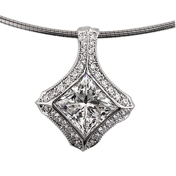 Style:F145 ~A brilliant princess cut diamond  surrounded by bead set round diamonds.