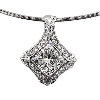 Style:F145 ~A brilliant princess cut diamond  surrounded by bead set round diamonds.