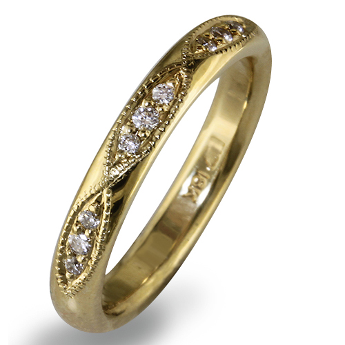Style:WBIRKM3Y ~  Shown as a 3mm wide band in 18k yellow gold with 12 bead set diamonds set in marquis shapes.