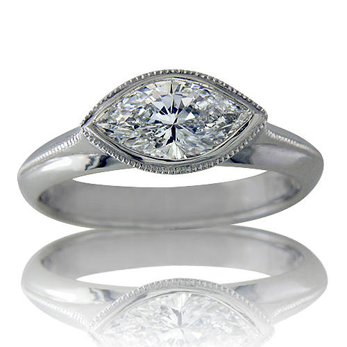 Style:LRM775 ~ Setting this marquis diamond sideways gives a whole new look to this engagement ring.