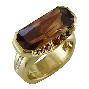 Style:LRM790 ~ A unique brown zircon set sideways with garnets and diamonds in 18k yellow gold.