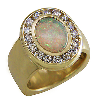 Style:LRO61A ~ A handsome ring with a fiery opal as its focal point enhanced by diamonds.