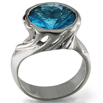 Style:LRR85 ~ A fancy cut blue topaz set in a swirl of sterling silver.