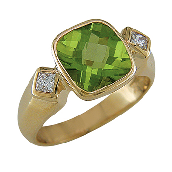 Style:LRT818 ~ This pineapple cut peridot is bezel set in 18k yellow gold with 2 diamonds.