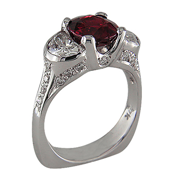 Style:LRT861 ~ Ruby and Diamonds in a white gold setting.