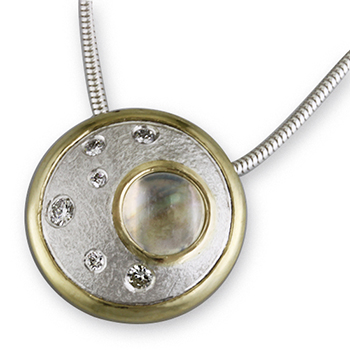 Style:N166 ~ Moonstone and diamonds set in sterling silver with 18k yellow gold.