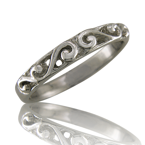 Style:WB125 ~ A thin wedding band with graceful curves along the top.