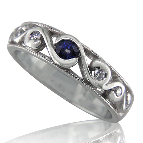 Style:WB151B ~ Sapphire and diamonds in a filagree setting.