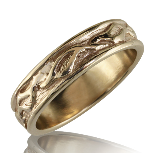 Style:WB153 ~ A leaf pattern flows around this yellow gold wedding band.