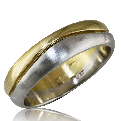 Style:WB156 two tone ~ Platinum and 18k yellow gold are joined in this wedding band.