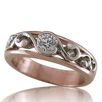 Style:WB157J1 A unique wedding band or engagement ring in rose and white gold.