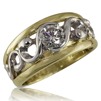 Style:WB157J2  This wedding band can also be used as an engagement ring. It shows here in 18kt yellow gold and 14kt white gold.