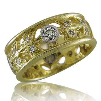 Style:WB167D ~ 18k yellow gold and diamonds in a wide filagree band.