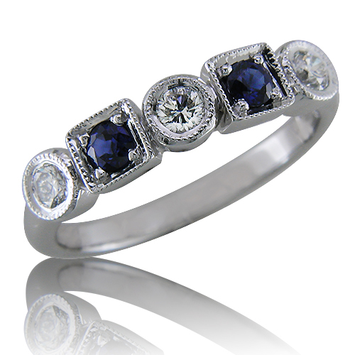 Style:WB180 Sapphires and Diamonds set in a Round Square Pattern create a Contemporary look