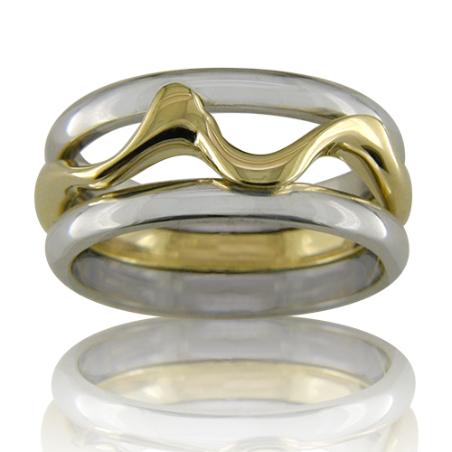 Style:WB188 ~  An 18k yellow gold band is entwined with two14k white gold bands to create a contemporary wedding band.