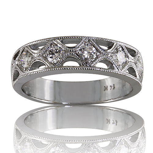 Style:WB232B ~ Diamonds set in a vintage look wedding band.