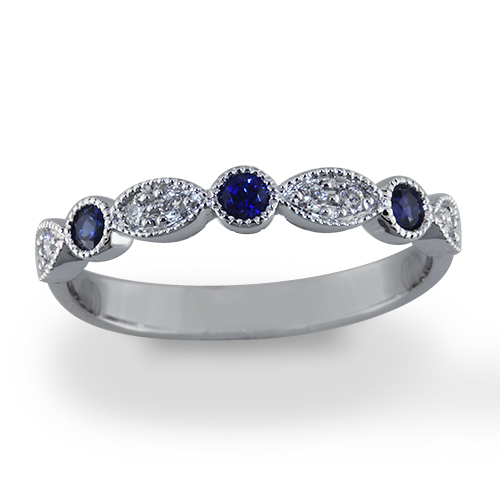 Style:WB237.R567 ~ 3 round sapphires embraced by diamonds set in marquis shapes.