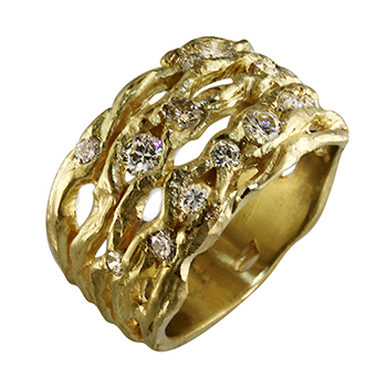 Style:WB241~18y gold and diamonds set in an organic wide band.