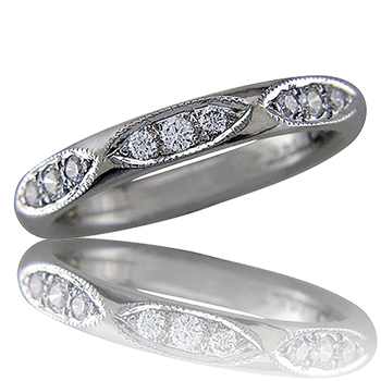 Style:WBIRKM3.R518 ~ Diamons set in a marquis shape enhance this wedding band or stacking ring.