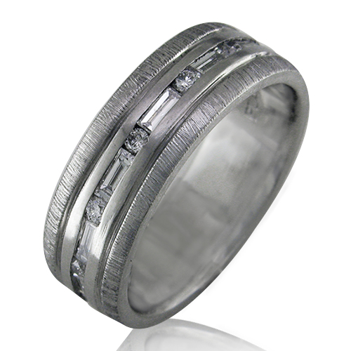 Style:R458 ~ Round and baguette diamonds alternate around this contemporary band.