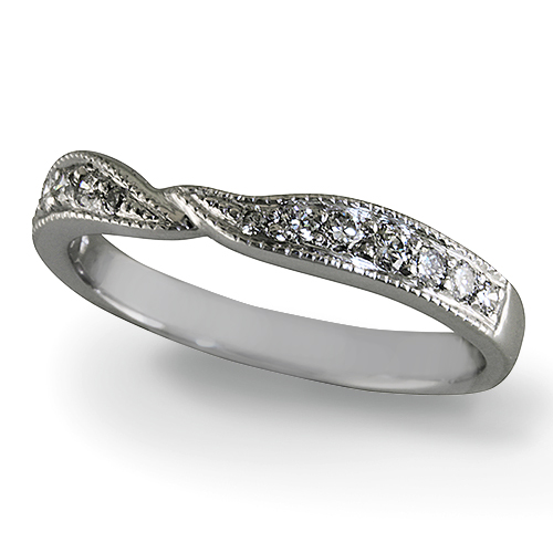 Style:WRC230A ~ A curved diamond wedding band with a twist!