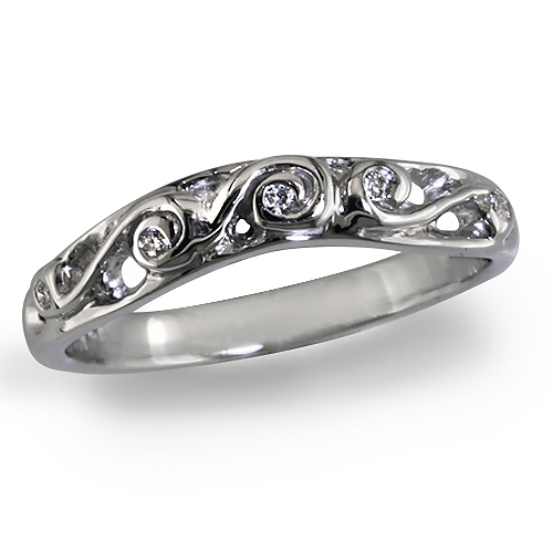 Style:WRC235.R704 ~A curved wedding band with diamonds swirled in gold or platinum.