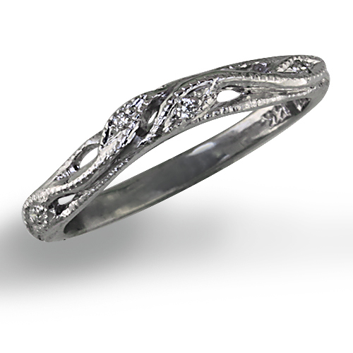 Style:WRC258 ~ An elegant curve on this band allows it to sit snugly against your diamond engagement ring.